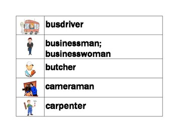 Professions in English word wall