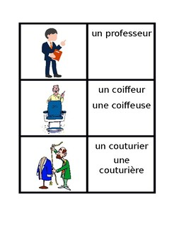 Professions in French Vocabulary Concentration Games