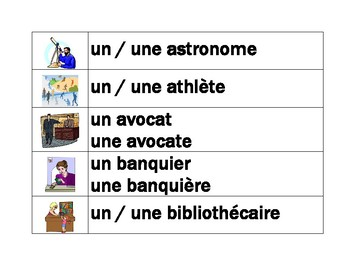Professions in French word wall