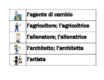 Professioni (Professions in Italian) word wall