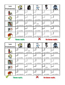 Professions in Spanish Grid vocabulary activity