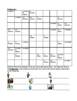 Professions in Spanish Sudoku