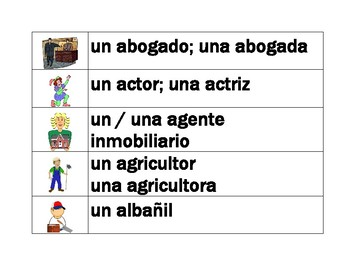 Professions in Spanish word wall