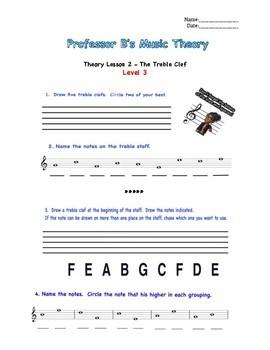 Professor B's Music Theory Lesson 2-The Treble Clef Bundle
