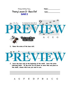 Professor B's Music Theory Lesson 3-The Bass Clef Bundle