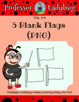 Professor Ladybug: 5 White (Blank) Flags Clip Art