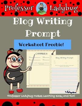 Professor Ladybug: Blog Writing Prompt Worksheet Freebie