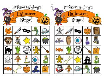 Professor Ladybug: Halloween Bingo: Complete Game, 30 Printable Cards