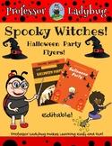 Professor Ladybug: Spooky Witches! Halloween Editable Party Flyer