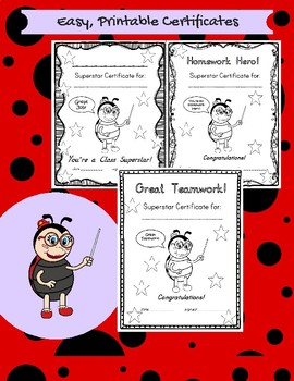 Professor Ladybug Superstar Certificates! Printable Achievement Certificates