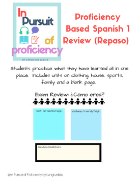 Proficiency Based Spanish 1 Review (Repaso Español 1) | TpT