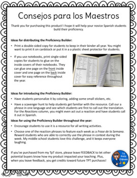 Proficiency Builder for Novice Spanish Students (2-page reference sheet)