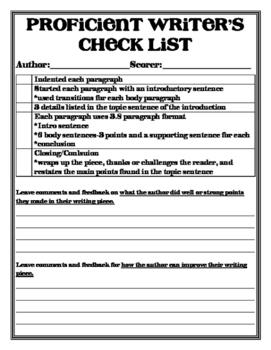 Proficient Writer's Checklist