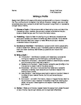 Profile Essay Assignment