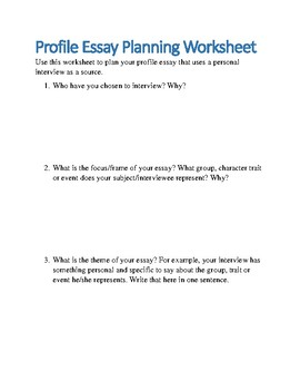 Profile Essay Planning Worksheet By Collegewriter  Tpt