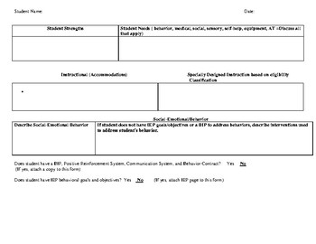 Profile Sheet -Special Education Teacher/Case Manager