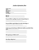 Profile Student Back to School Sheet