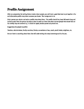 Profile Writing Assignment and Rubric - Journalism