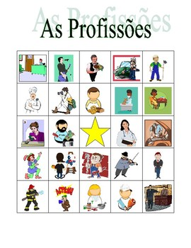 Profissões (Professions in Portuguese) Bingo