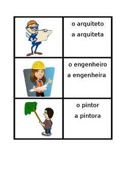 Profissões (Professions in Portuguese) Vocabulary Concentration games