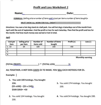 Profit and Loss Workbook