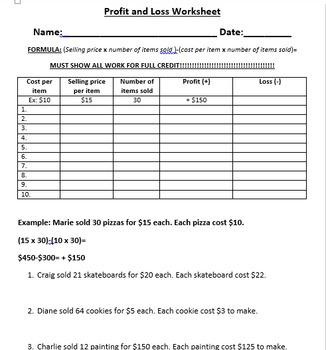 Profit and Loss Workbook