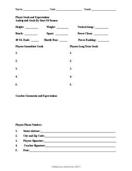 Program Starter Player Goal Sheet