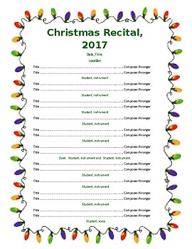 Program for Holiday Recital/Concert - 2 pages
