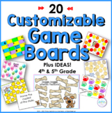 Board Game Templates with Ideas for Fourth Grade and Fifth Grade Curriculum