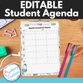 Weekly Student Agenda Homework Assignment Sheet : Editable