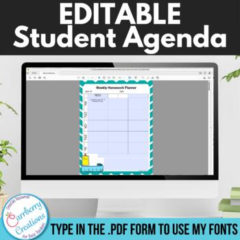 Weekly Student Agenda Homework Assignment Sheet : Editable