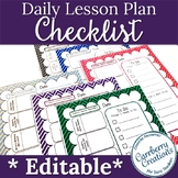 Lesson Plan Template Editable Checklist in Chevron