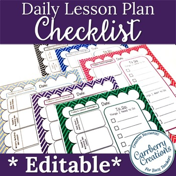 Editable Lesson Planner Daily Checklist: Chevron