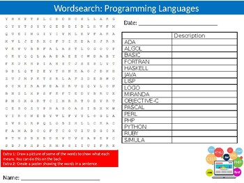 Programming Languages Wordsearch Puzzle Sheet Keywords ICT Computer Science
