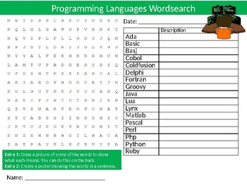 Programming Languages Wordsearch Sheet Computer Science Starter Keywords