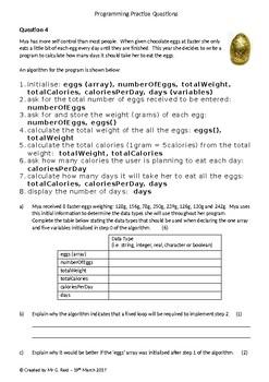 Programming Homework/Assessment Practise Questions Bundle: (Qs 1-5)