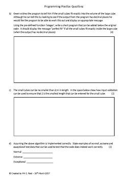 Programming Homework/Assessment Practise Questions (Set 3)