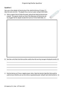 Programming Homework/Assessment Practise Questions (Set 1)