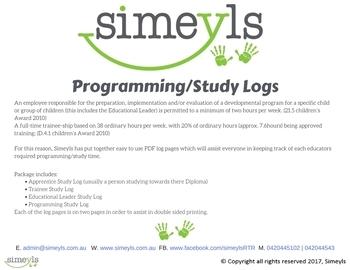 Programming/Study Logs. Supports EYLF &/or NQF Australia