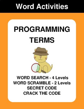 Programming Terms - Word Search, Word Scramble,  Secret Code,  Crack the Code