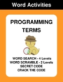 Programming Terms - Word Search, Word Scramble,  Secret Co
