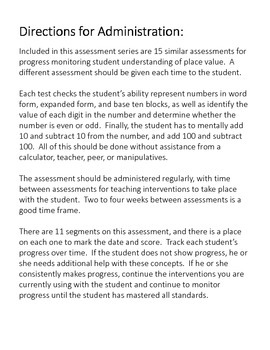 Progress Monitoring Assessment (RTI Probe) for Place Value - Set of 15