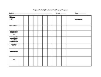 Progress Monitoring Checklist for Short Paragraph Response