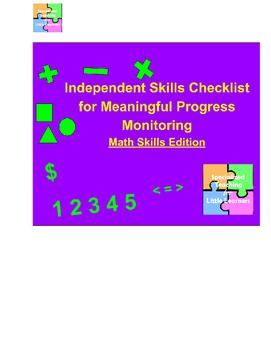 Progress Monitoring/Data: Independence Checklists, Math Edition #btsreadywithtpt