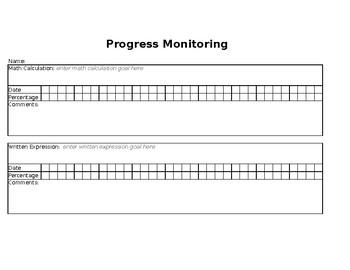 Progress Monitoring Data Sheet