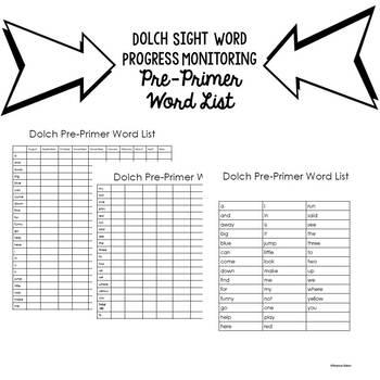 Progress Monitoring Dolch Pre-Primer Sight Words