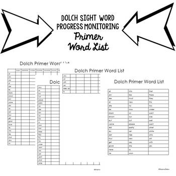 Progress Monitoring Dolch Primer Sight Words