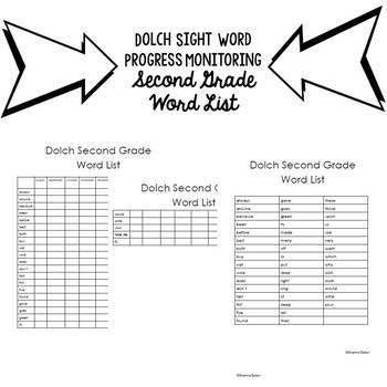 Progress Monitoring Dolch Second Grade Sight Words