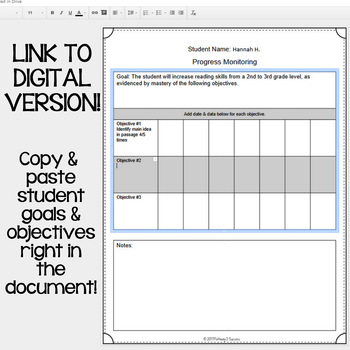 Progress Monitoring Editable Forms