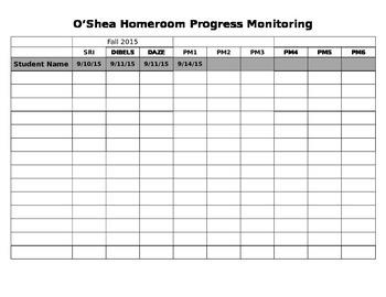 Progress Monitoring Editable Spreadsheet